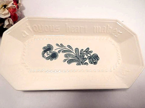 Bread Tray Pfaltzgraff Yorktowne Teal Green Joyous Heart Platter Vintage Stoneware Serving Dish PFA40 Made in the USA
