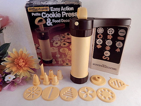 Cookie Press Hutzler Gerda Easy Action Petite Food Decorator Cake Decorating Tool Baking Supply Nozzle Tops Template Discs