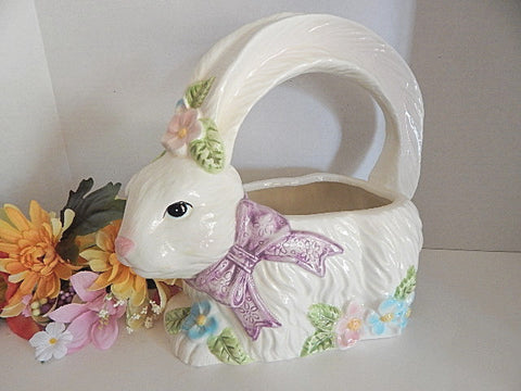 White Rabbit Basket Easter Bunny Planter  Ceramic Candy or Egg Dish Vintage 1990's  Easter Decor