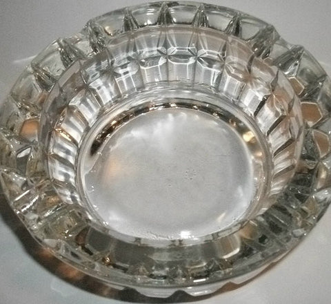 Lead Crystal Ash Trays Heavy Masculine Tobacciana Regal Recency Dental Design Entertaining Collectible Glass Home Decor Set of Two
