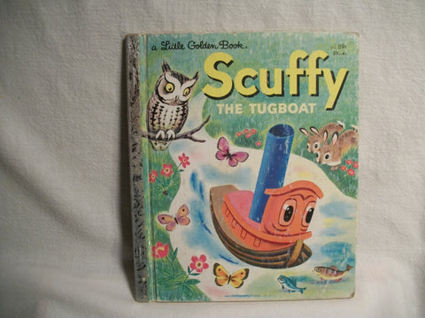 Scuffy the Tugboat Little Golden Books Children's Picture Story Book About Boats by Gertrude Crampton Color Illustrated Vintage 1974Edition