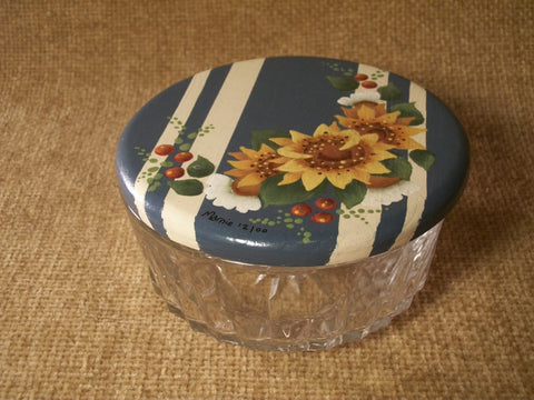 Candy Bowl Covered Dish Hand Painted Cover Yellow Sunflowers Blue White Green Ornate Glass Trinket Storage