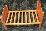 Wooden Slat Doll Bed Antique Girls Toy Furniture with Mary's Little Lamb Decals Collectible Doll Accessory Home Decor