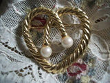 Pearl Heart  Brooch Gold Overlay Twisted Rope Coat Pin Vintage 1960's Fashion Jewelry June Birthstone Gift