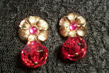 Dangle Earrings Red Disco Ball Purple and Gold Flowers Vintage 1970's Jewelry