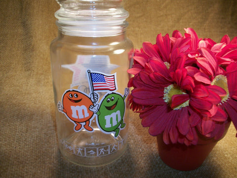 Olympics Souvenir Glass Canister M & M Candy Jar 1984 Los Angeles Team USA  American Flag Advertising Memorabilia