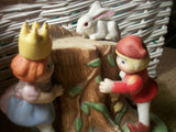 Boy Girl Children Playing Prince Princess White Rabbit Enesco Hand Painted Porcelain Vintage Figurine Lorlipop Dragon Trast Story Book