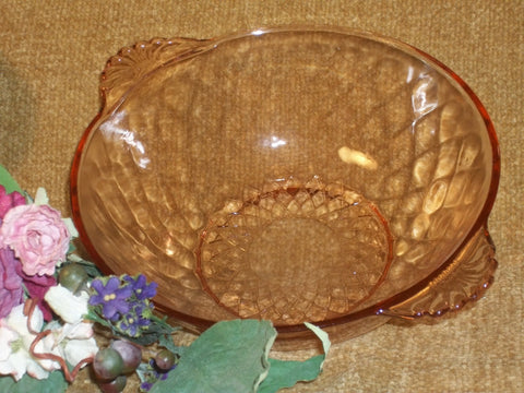 Pink Glass Bowl Diamond Pattern Art Deco Vintage 1930's Depression Glass Round Serving Dish Antique Tableware Home Decor