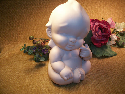 Naked Baby Ceramic Figurine  Infant Newborn Chubby Kewpie Style Ivory Bisque Baby's Room Vintage Home Decor