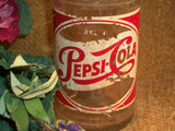 Pepsi Cola Glass Bottle Antique 1950s 12 Ounce Long Thin Neck Sparkling Soda Red White Decals Single Dot Clear Embossed Collectible