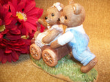 Playtime Bears Boy and Girl Bear Playing with Wagon Vintage 1980's Home Interiors Colorful Bisque Porcelain Figurine