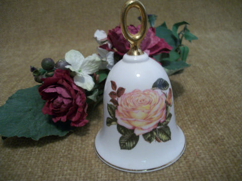 Danbury Mint Vintage Bell American Rose Peach Peace Rose Fine Bone China 22k Gold Gilt Collectible Victorian Cottage Decor Made in England