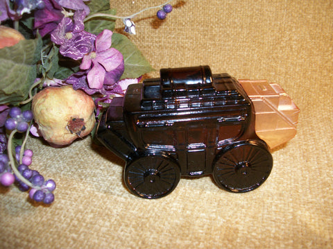 Avon Stagecoach Buggy Men's Fragrance Brown Glass Decanter Western Vintage Collectible Bottle Home Decor