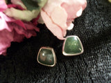 Post Earrings Green Cabochon and Silver Metal Geometric Picture Frames Earrings Vintage Fashion  Jewelry