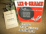 Word Game Lex-O-Grams Five Game Variations Multiple Players Letter Tiles Educational Vintage 1949 Family Fun