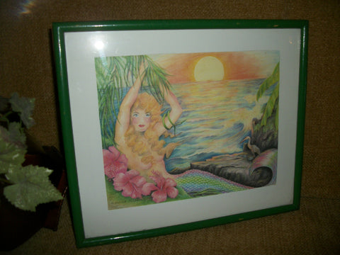 Wall Hanging Picture Mermaid at Sunset Ocean Sea Beach Tropical Fantasy Colorful Vintage  Framed Art Print by R. Elaine Holm