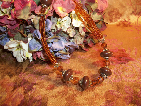 Amber Brown Seed Bead  Necklace Boho Hippie Adjustable Length Multi StrandFashion Jewelry
