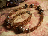 Amber Brown Seed Bead  Necklace Boho Hippie Adjustable Length Multi Strand Fashion Jewelry
