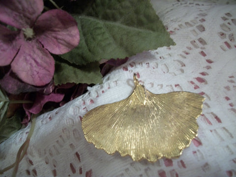 Leaf Pendant Handcrafted Gold Gilt Leaves Artistic Vintage Fashion Jewelry Accessory
