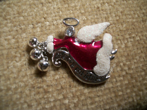 Angel Brooch Merry Christmas Banner and Jingle Bells Enamel Pin Vintage Holiday Jewelry