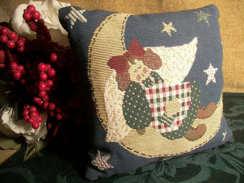 Woven Tapestry Pillow Angel Stars and Moon Decorative Sofa Pillow Vintage Country Home Decor Americana Red White Blue Green