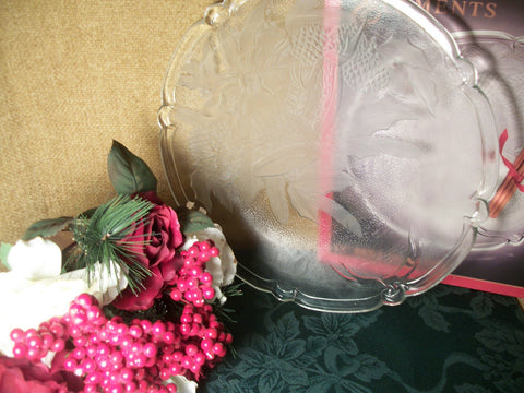 "Christmas Serving Platter Clear and Frosted Pressed Glass Winter Home Entertaining Holiday Bells Pattern 13"" Round Vintage Tray Original Box"