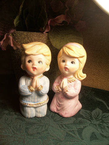 Praying Children Boy Girl Porcelain Bisque Figurines Child's Room Vintage Home Decor by Homco