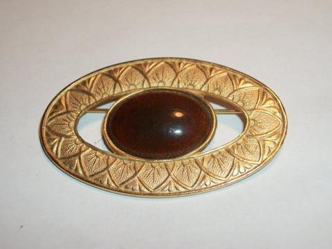 Geometric Leaf Pattern Vintage Brooch Oval Pressed Gold Metal Brown Stone Cabochon 1980's Fashion Jewelry Coat Scarf Pin