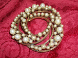 Florenza Signed Jewelry Vintage Brooch Swirled Gold Metal Circles Pin Faux Pearls  Collectible 1950's Costume Accessory
