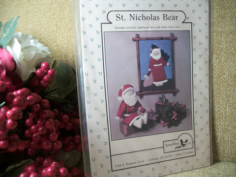 Christmas Crafts Pattern for Soft Sculpture St. Nicholas Santa Claus Teddy Bear DIY Sewing Christmas Decoration by Jenny Wren