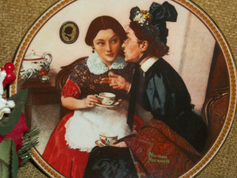 Gossiping in the Alcove Norman Rockwell Wall Hanging Plate Collectible Rediscovered Women Registered Issue Knowles Fine China Home Decor
