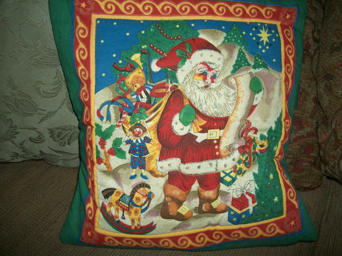 Accent Pillow Cover Quilted Christmas Picture Panel Traditional Santa Claus Toys Washable VIntage Handcrafted Holiday Home Decoration