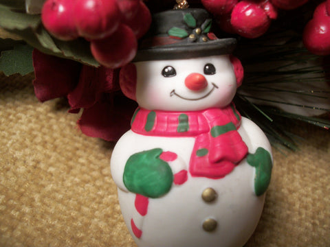 Snowman Bell Christmas Tree Ornament Collectible Vintage Russ Berrie Ceramic Figurine