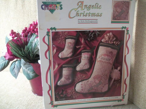 Cross Stitch Pattern Booklet Angelic Christmas Stockings DIY Elegant Angels Victorian Holiday Crafts VIntage 1991 by Color Charts