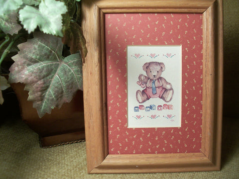 Baby's Room Picture Teddy Bear and Welcome Blocks Oak Wood Frame Art Print Wall Hanging Vintage Nursery or Play Room Decor by Figi Graphics