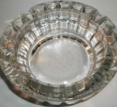 Lead Crystal Ash Tray Heavy Glass Masculine Dental Design Vintage Housewares Tobacciana Home Decor