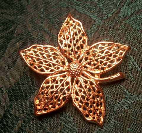Floral Brooch Floral Coat Pin Open Cut Gold Overlay Five Petal Flower Vintage 1960's Jewelry Fashion Accessory