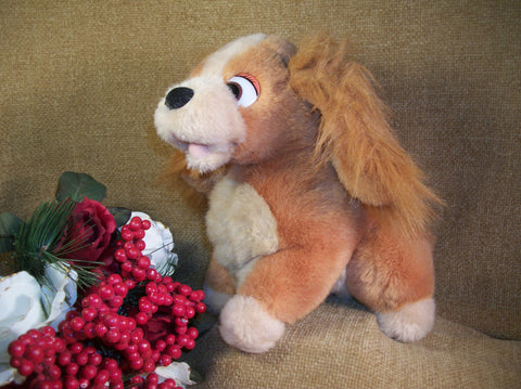 Disney LADY and the Tramp Plush Stuffed Animal Vintage Toy Spaniel Dog Animated Movie Disneyana Collectible