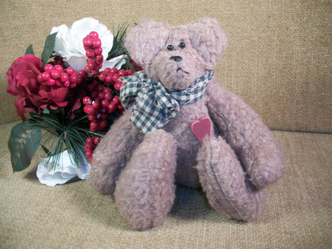 Teddy Bear Stuffed Animal with Red Heart and Green Bow Hand Crafted Brown Plush Jointed Hand Sewn Home Valentine's Day Decoration