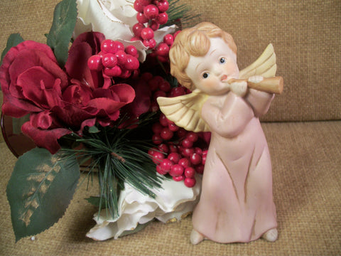 Angel Figurine Hand Painted Porcelain Vintage Christmas Home Decor Collectible