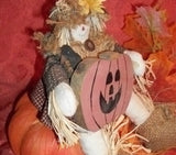 Scarecrow Doll wth Jack O' Lantern Pumpkin Fall Halloweenl Home Decor