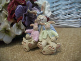 Gail West Bunny Rabbits Figurine Mother and Baby Bunnies Grandmother Grandchildren Gift Baby'as Room Decor Springtime and Easter Collectible