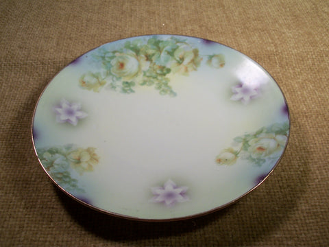 Silesien Germany Decorative Wall Plate Rare 1930's Antique Roses Grapes Purple Green and Yellow with Gold Gilt Trim Collectible Home Decor