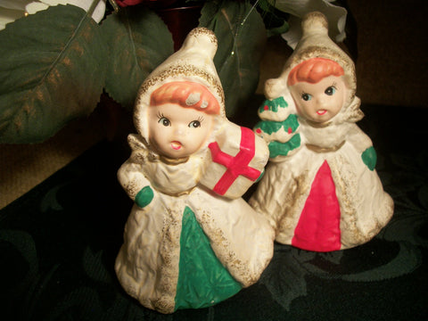 Pair of Victorian Girl Christmas Figurines Mid-Century Homco Ceramic Home Decor Cottage Shabby