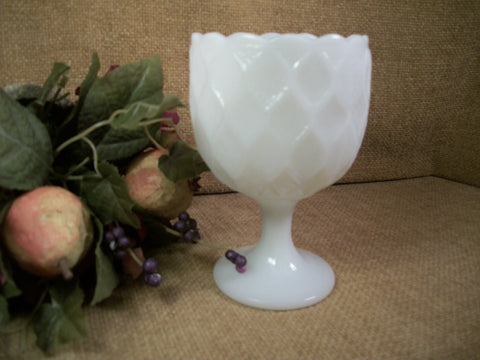 Milk Glass Compote White Diamond Quilt Octagon Pedestal Bowl Collectible Vintage Home Decor Glassware