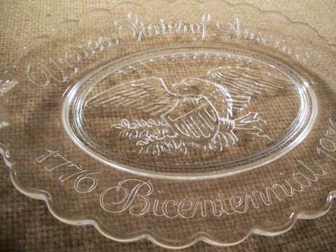 American Eagle USA Bicentennial Commemorative Plate by Avon Clear Glass e Oval Platter Vintage Home Decor