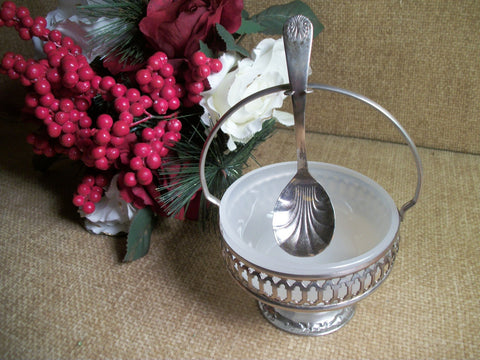 Silver and Milk Glass Jam Serving Set from England Vintage Condiment Dish Ladle Spoon Caddy Queen Anne Style Pedestal Entertaining Tableware
