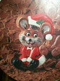 Christmas Candy Box Mouse in Santa Suit Sitting in Chocolate Vintage Swiss Colony Round Metal Tin Gift Storage Container Holiday Decor