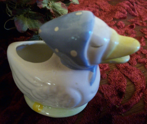 Ceramic Duck Figurine Hand Painted White and Yellow Farm Animal Wearing  Blue Scarf Vintage Springtime Easter Home Decor