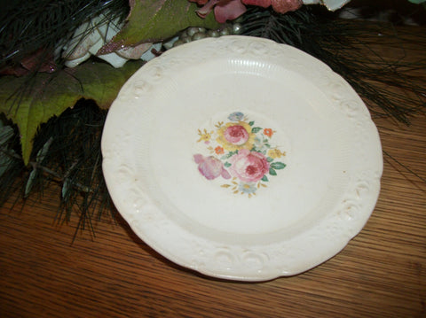 Antique Plate Royal Doulton White Floral Ravenna Saucer Homer Laughlin Vintage 1930s Embossed Roses Scalloped Edge Cottage Chic Tableware